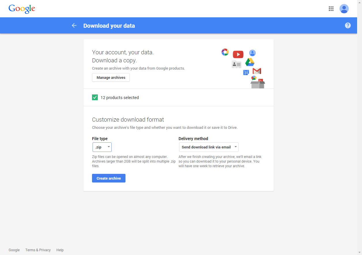 Google Takeout Instructions